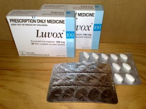 Luvox SSRI box and pill pack