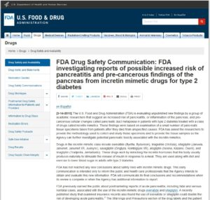 FDA incretin mimetic drugs pancreatic cancer