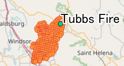 Tubbs Wildfire burn map